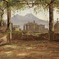 View Of The Castel Nuovo And Vesuvius From A Pergola by MotionAge Designs