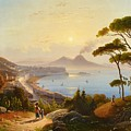 View Of The Gulf Of Naples by August Wilhelm Ahlborn