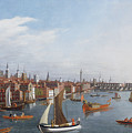 View Of The River Thames With St Paul's And Old London Bridge   by William James