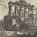 View Of The So-called Temple Of Concord With The Temple Of Saturn, On The Right The Arch Of Septimiu by Giovanni Battista Piranesi