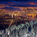 View Of Vancouver From Grouse Mountain At Sunset by Pierre Leclerc Photography
