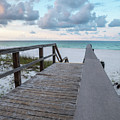 View Of White Sand And Blue Ocean From Wooden Boardwalk by PorqueNo Studios