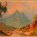 View On Blue Tip Mountain H A With Decorative Ornate Printed Frame. by Gert J Rheeders
