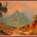 View On Blue Tip Mountain H B With Decorative Ornate Printed Frame. by Gert J Rheeders