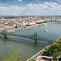 View Over Budapest With Danube And Liberty Bridge by Matthias Hauser