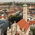 View Over Munich With Frauenkirche by Greg Dale