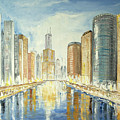 View Up The Chicago River by Ken Wood
