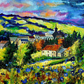 Village And Blue Poppies  by Pol Ledent