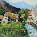 Village In The Austrian Alps by Cvetko Ivanov