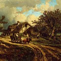 Village Landscape 1844 by Dupre Jules