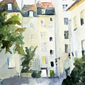 Village Saint Paul Watercolor Painting Of Paris by Beverly Brown