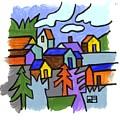 Village Scene by Helen Pisarek