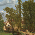 Villagers And Animals In A Landscape Beside A Bridge At The Entrance Of A Village by Jean-Joseph-Xavier Bidauld