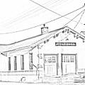Villisca Ia Train Depot Sketch by Edward Peterson