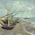 Vincent Van Gogh  Fishing Boats On The Beach At Les Saintes Maries De La Mer by Artistic Panda
