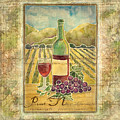 Vineyard Pinot Noir Grapes N Wine - Batik Style by Audrey Jeanne Roberts