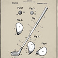 Vintage 1910 Golf Club Patent In Sepia by Bill Cannon