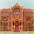 Vintage Architectural Photograph Of Ashbel Smith Old Red Building At Utmb - Downtown Galveston Texas by Silvio Ligutti