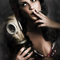 Vintage Army Pinup Girl Holding Gas Mask by Jorgo Photography - Wall Art Gallery