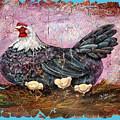 Vintage Blue Hen With Chicks Fresco  18x24 by OLena Art Brand