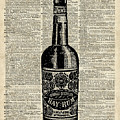 Vintage Bottle Of Rum Over Antique Book Page by Anna W