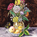 Vintage Bouquet With Fruits And Butterfly  by Irina Sztukowski