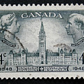 Vintage Canadian Postage Stamp With Victoria And George by Patricia Hofmeester