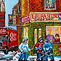 Vintage Candy Store Classic Coca Cola Truck Winter Scene Hockey Art Canadian Art Carole Spandau      by Carole Spandau