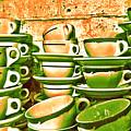 Vintage Cellar Tea Cups Painterly by Nina Silver