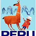 Vintage Child and Llama Peru Travel Poster by Retro Graphics