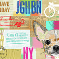 Vintage Collage Chihuahua by Claudia Schoen