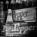 Vintage Dr Pepper In Black And White by JC Findley