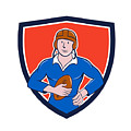 Vintage French Rugby Player Holding Ball Crest Cartoon by Aloysius Patrimonio