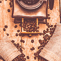 Vintage Grinder With Sacks Of Coffee Beans by Jorgo Photography - Wall Art Gallery