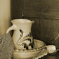 Vintage Grooming Set And Stoneware Water Pitcher In Sepia Tones by Colleen Cornelius