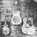 Vintage Guitar Trio In Black And White by Eleanor Abramson