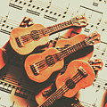 Vintage Guitars On Music Sheet by Jorgo Photography - Wall Art Gallery