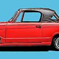 Vintage Italian Automobile Red Tee by Edward Fielding