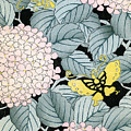 Vintage Japanese Illustration Of A Hydrangea Blossoms And Butterflies by Japanese School