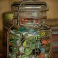 Vintage Jar Of Marbles by Teresa Wilson