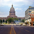 Vintage July 1968 View Looking Up Congress Avenue To The Texas State Capitol by Herronstock Prints