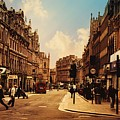 Vintage London Street by Digital Art Cafe