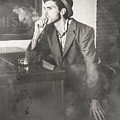Vintage Man In Hat Smoking Cigarette In Jazz Club by Jorgo Photography - Wall Art Gallery