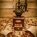 Vintage Manual Grinder And Coffee Beans by Jorgo Photography - Wall Art Gallery