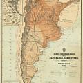 Vintage Map Of Argentina - 1882 by CartographyAssociates