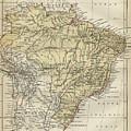 Vintage Map Of Brazil - 1889 by CartographyAssociates