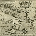 Vintage Map Of Italy And Greece - 1587 by CartographyAssociates