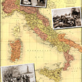 Vintage Map Of Italy Genealogy Map by Karla Beatty