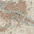 Vintage Map Of Lyon France - 1888 by CartographyAssociates