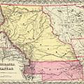 Vintage Map Of Nebraska And Kansas - 1856 by CartographyAssociates